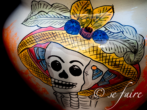 Talavera Day of the Dead Pot. This is just a fun photo I wanted to include. I bought this from my local nursery and it was the only one of its kind. Many folks passing by complimented this as I was shopping. Gorgeous pot!